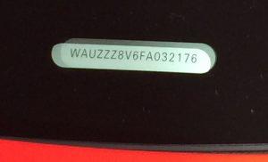 Numéro VIN Audi RS6 Mondial de l'Auto Paris 2014